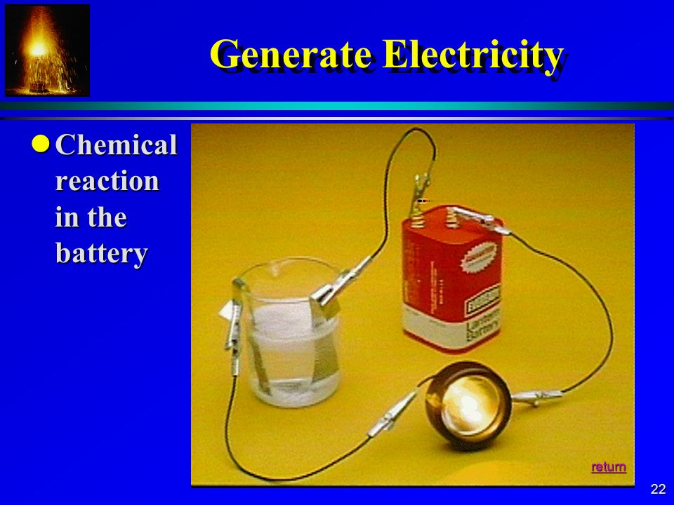 Generate Electricity Chemical reaction in the battery return