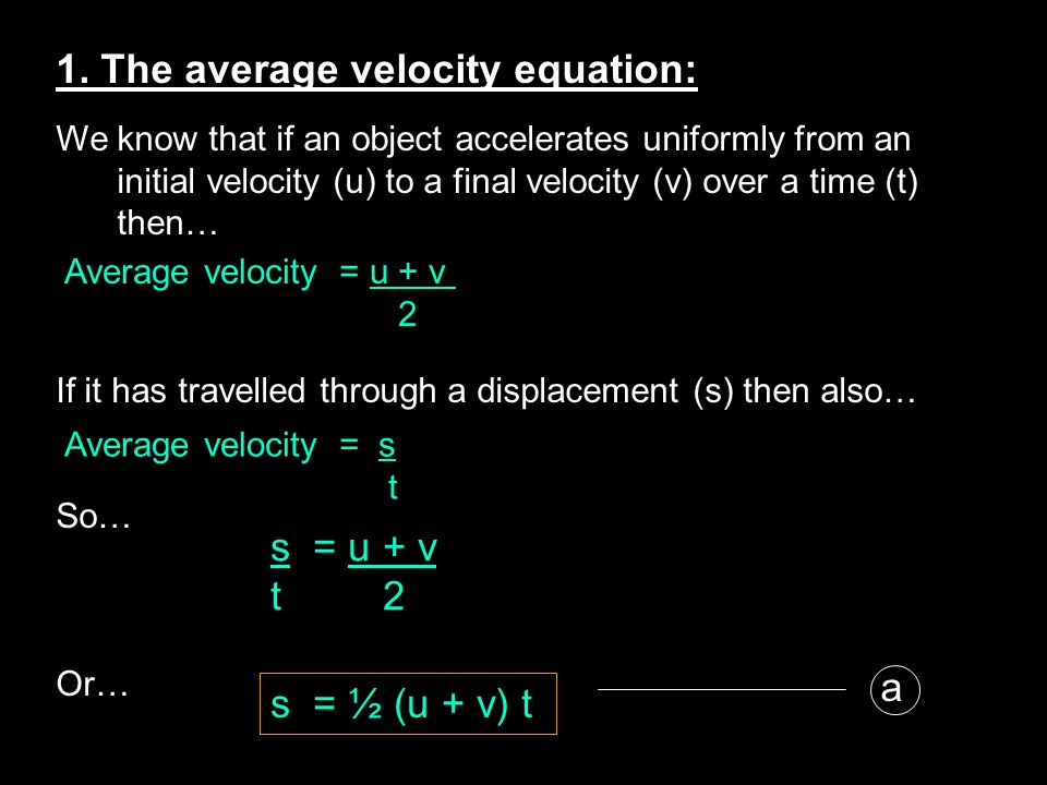 1. The average velocity equation: