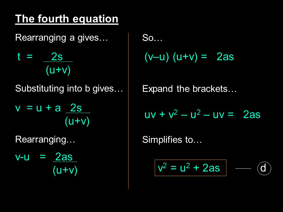 The fourth equation t = 2s (u+v) (v–u) (u+v) = 2as v = u + a 2s (u+v)