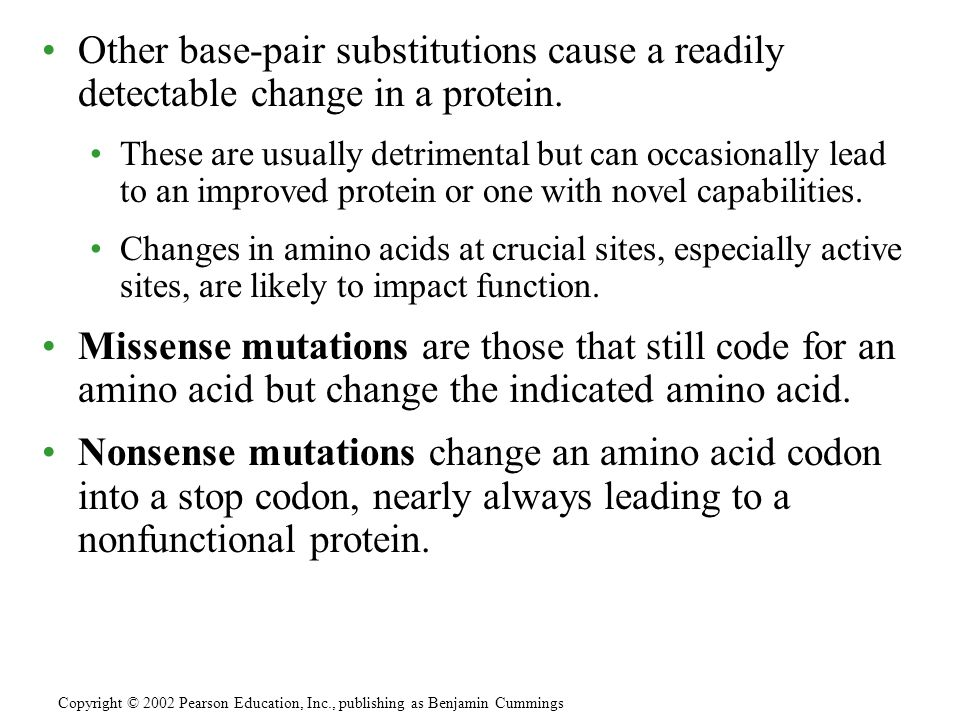 Other base-pair substitutions cause a readily detectable change in a protein.