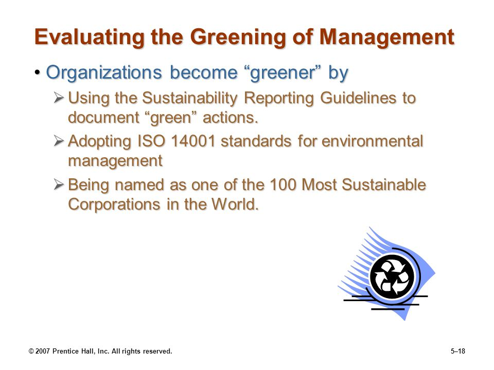 Evaluating the Greening of Management