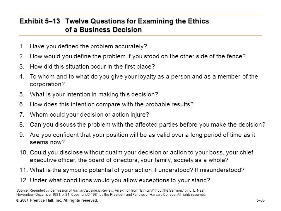 Exhibit 5–13 Twelve Questions for Examining the Ethics of a Business Decision