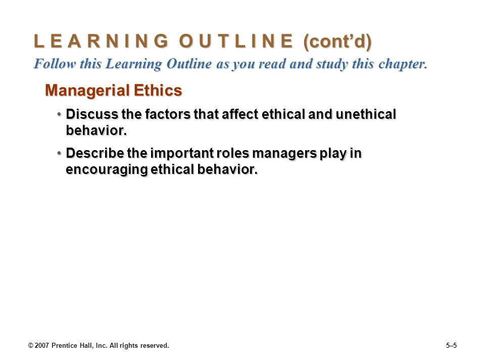 L E A R N I N G O U T L I N E (cont'd) Follow this Learning Outline as you read and study this chapter.