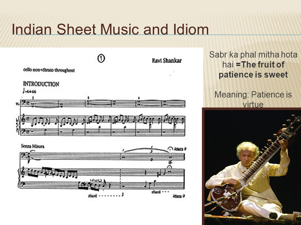 Indian Sheet Music and Idiom