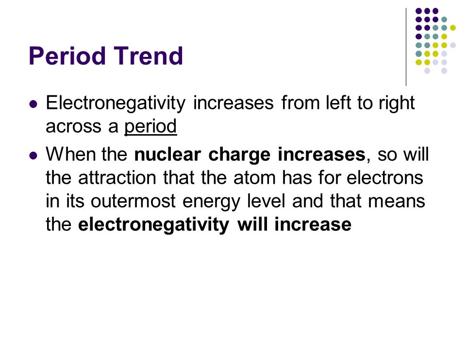 Period Trend Electronegativity increases from left to right across a period.