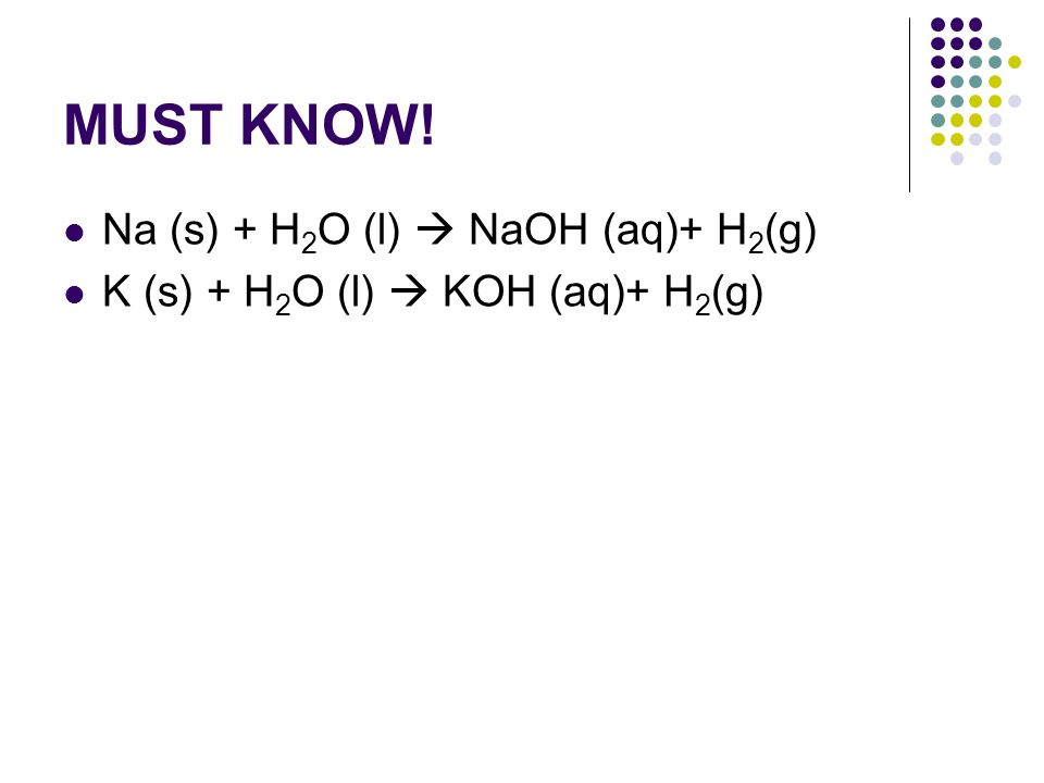 MUST KNOW! Na (s) + H2O (l)  NaOH (aq)+ H2(g)