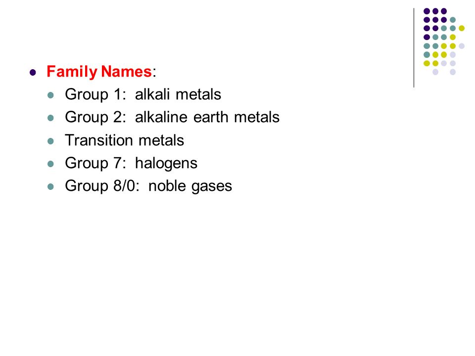 Family Names: Group 1: alkali metals. Group 2: alkaline earth metals. Transition metals. Group 7: halogens.