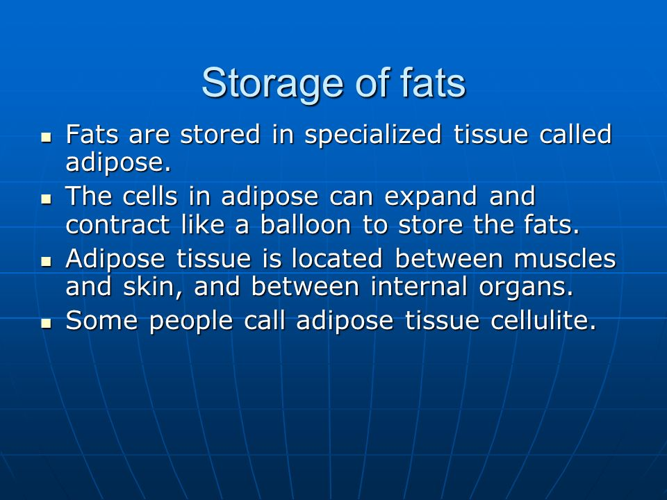 Storage of fats Fats are stored in specialized tissue called adipose.