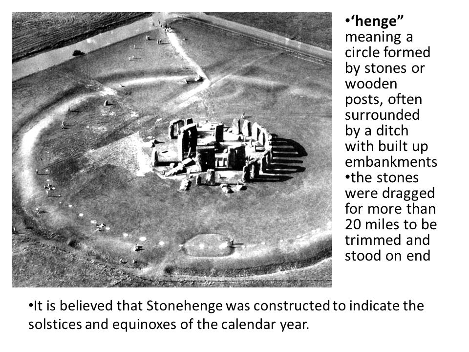 'henge meaning a circle formed by stones or wooden posts, often surrounded by a ditch with built up embankments