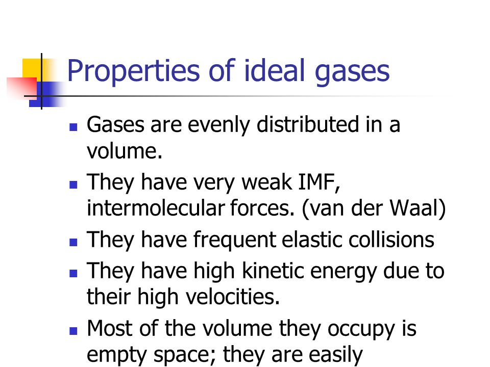 Properties of ideal gases