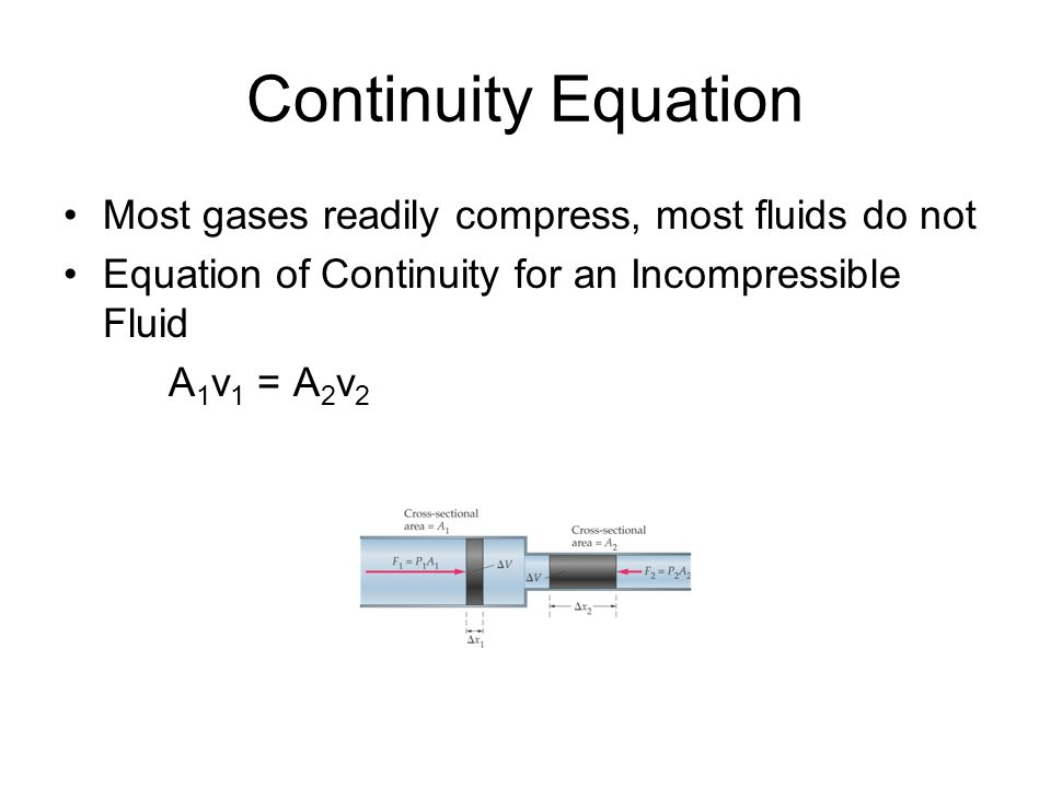Continuity Equation Most gases readily compress, most fluids do not