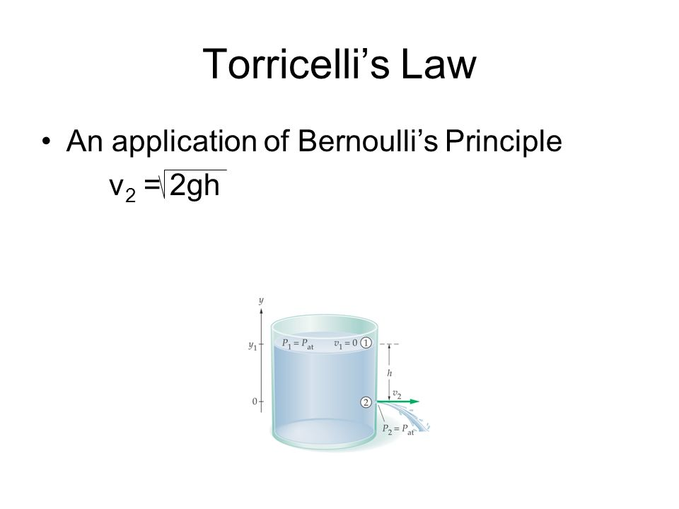 Torricelli's Law An application of Bernoulli's Principle v2 = 2gh