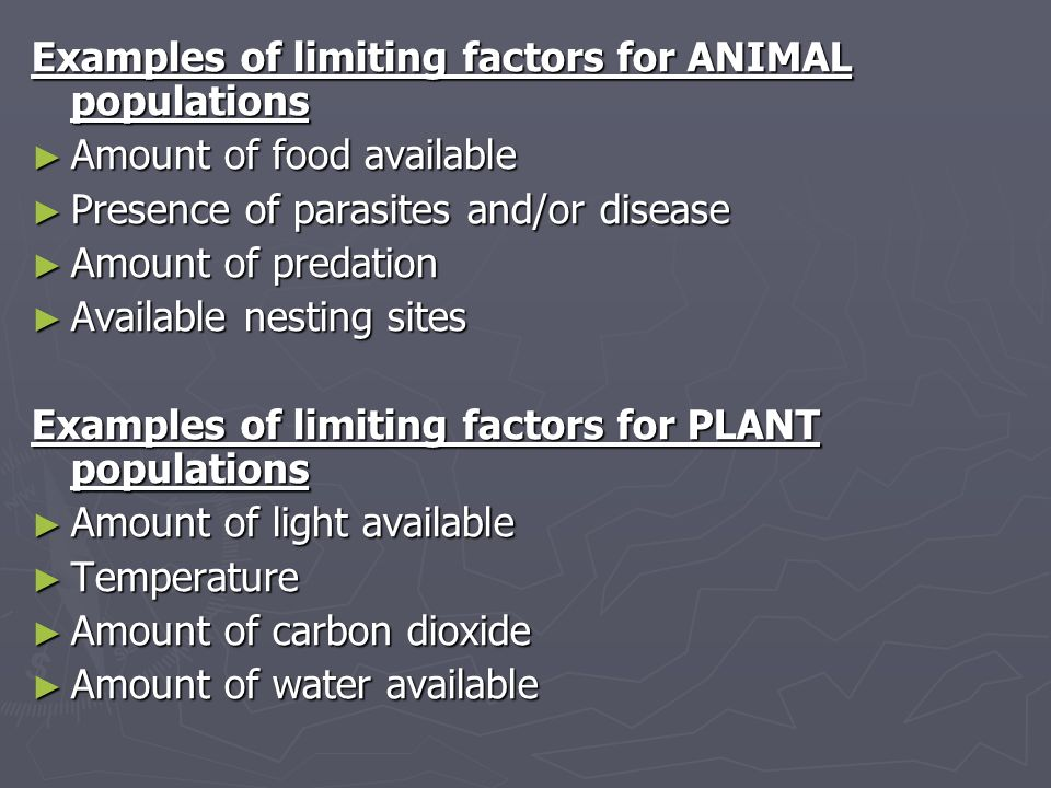 Examples of limiting factors for ANIMAL populations