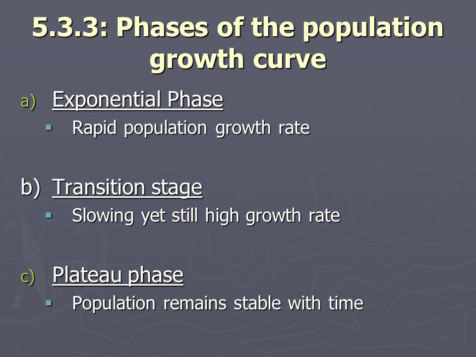 5.3.3: Phases of the population growth curve