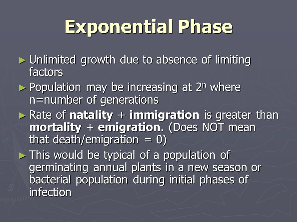 Exponential Phase Unlimited growth due to absence of limiting factors