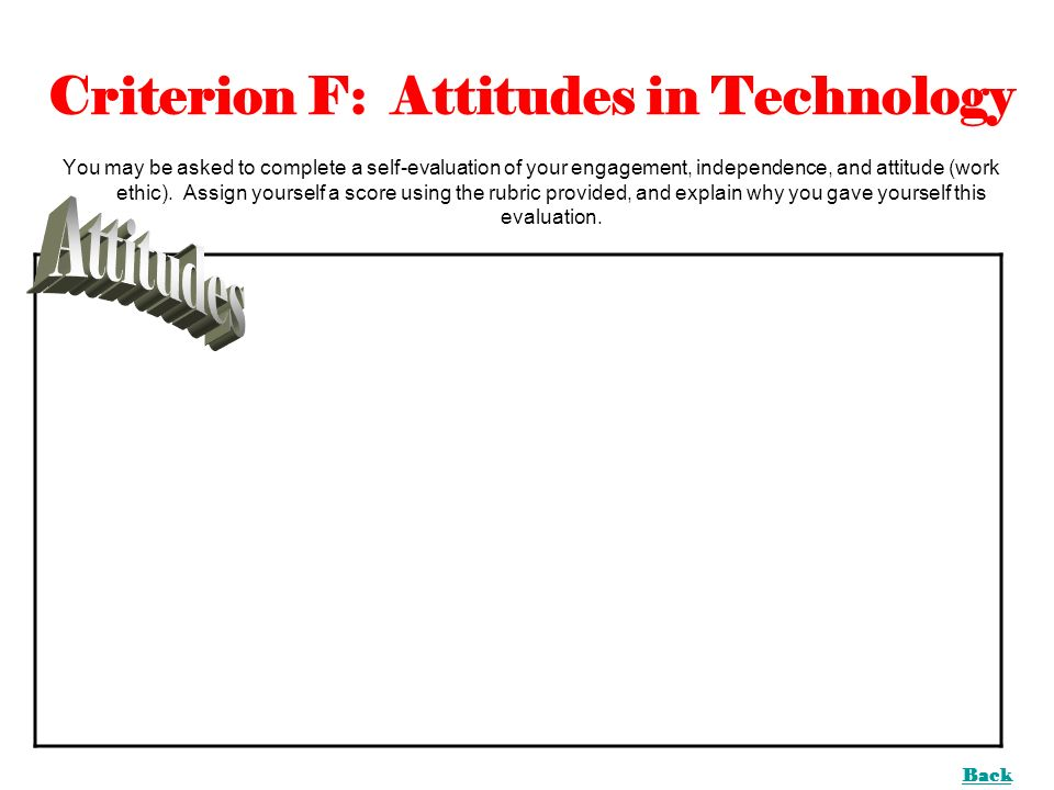 Criterion F: Attitudes in Technology