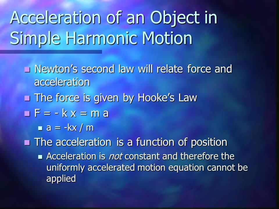 Acceleration of an Object in Simple Harmonic Motion