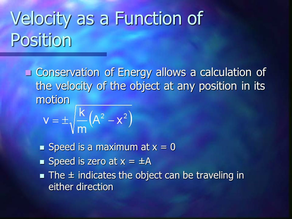 Velocity as a Function of Position