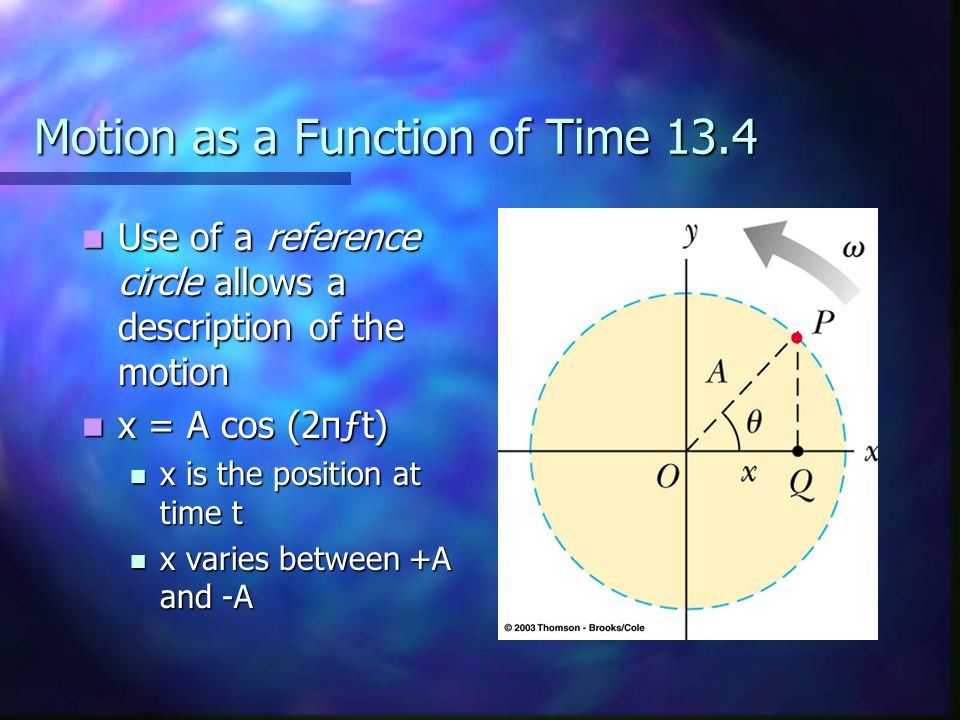 Motion as a Function of Time 13.4