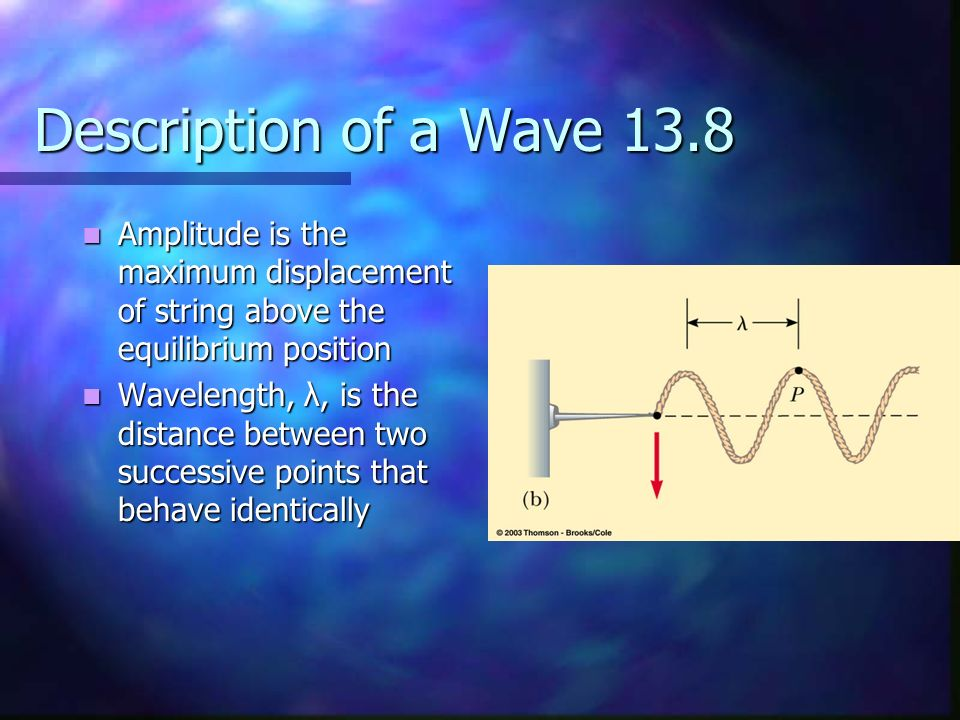 Description of a Wave 13.8 Amplitude is the maximum displacement of string above the equilibrium position.