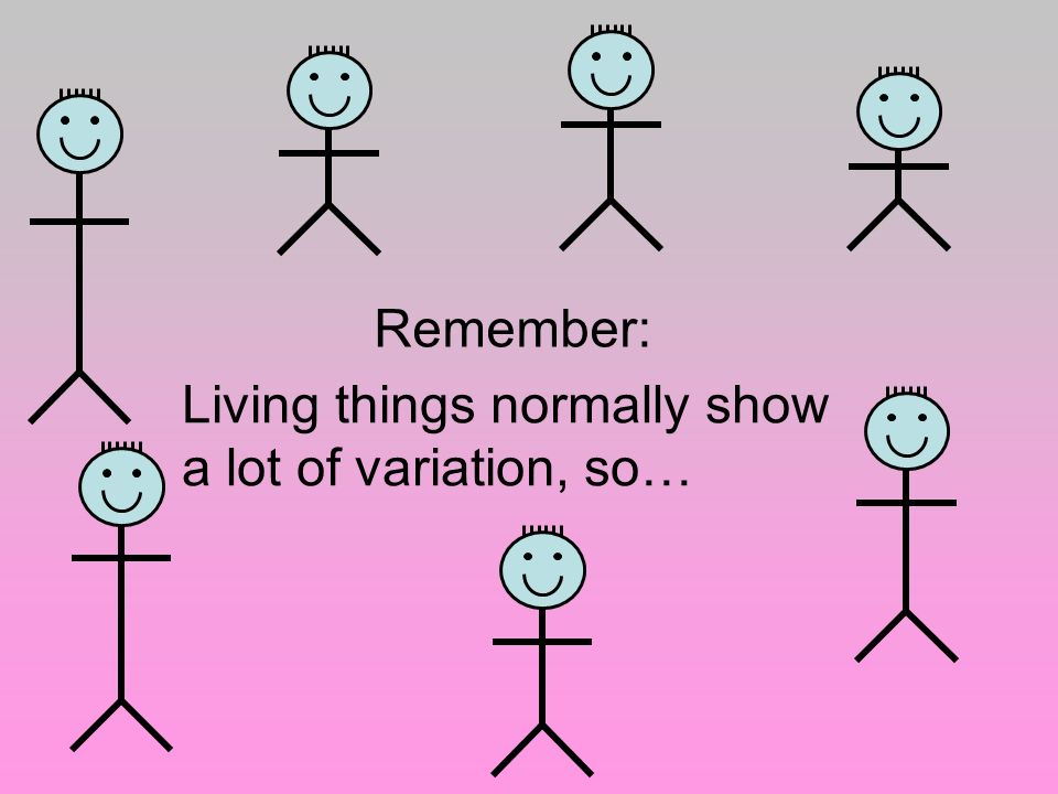 Living things normally show a lot of variation, so…