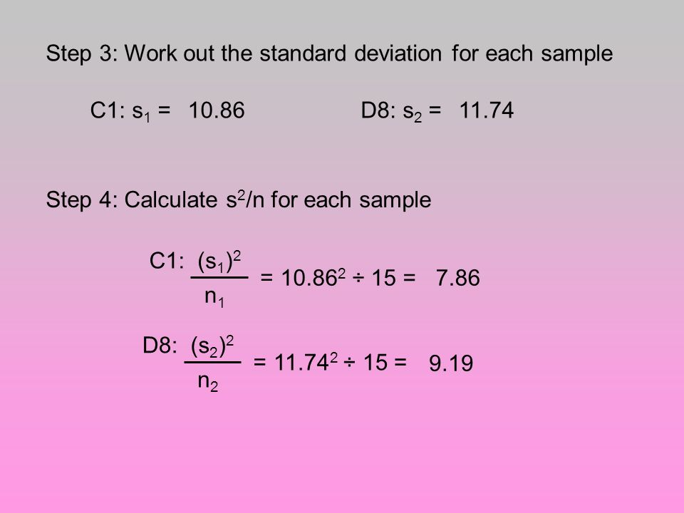 Step 3: Work out the standard deviation for each sample