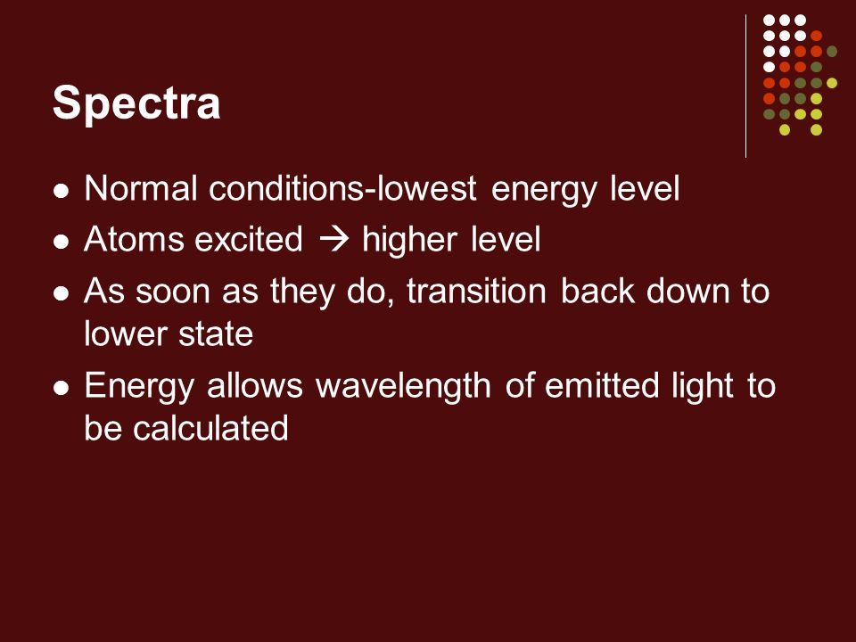 Spectra Normal conditions-lowest energy level