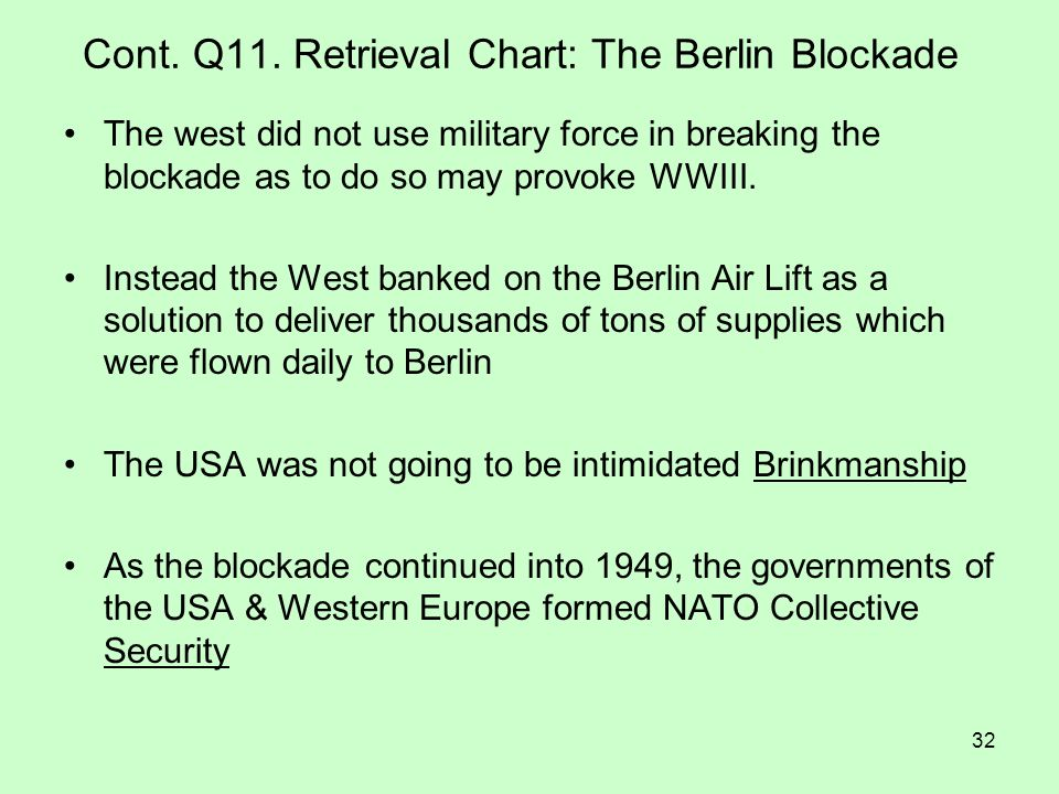 Cont. Q11. Retrieval Chart: The Berlin Blockade