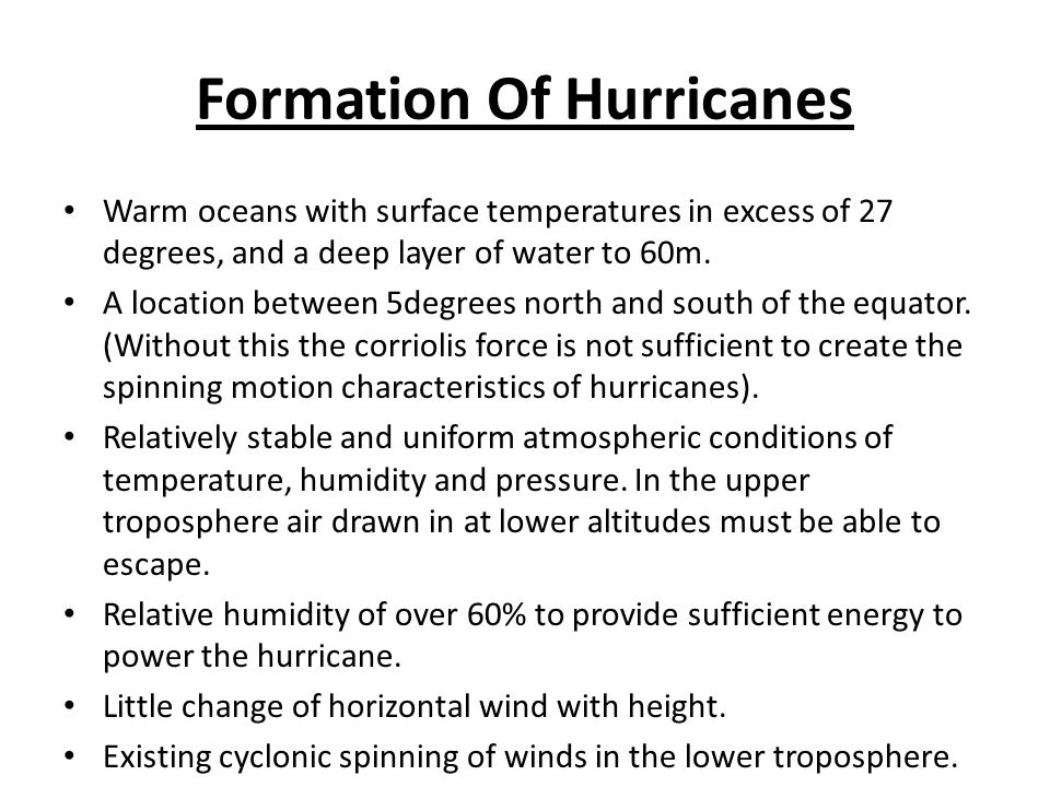 Formation Of Hurricanes