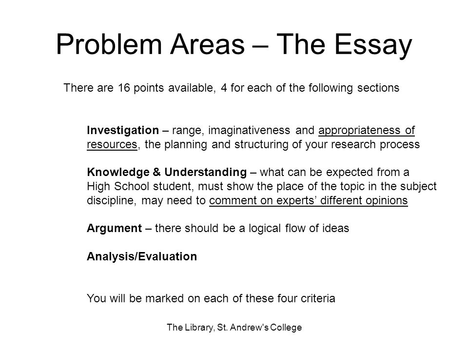 Problem Areas – The Essay
