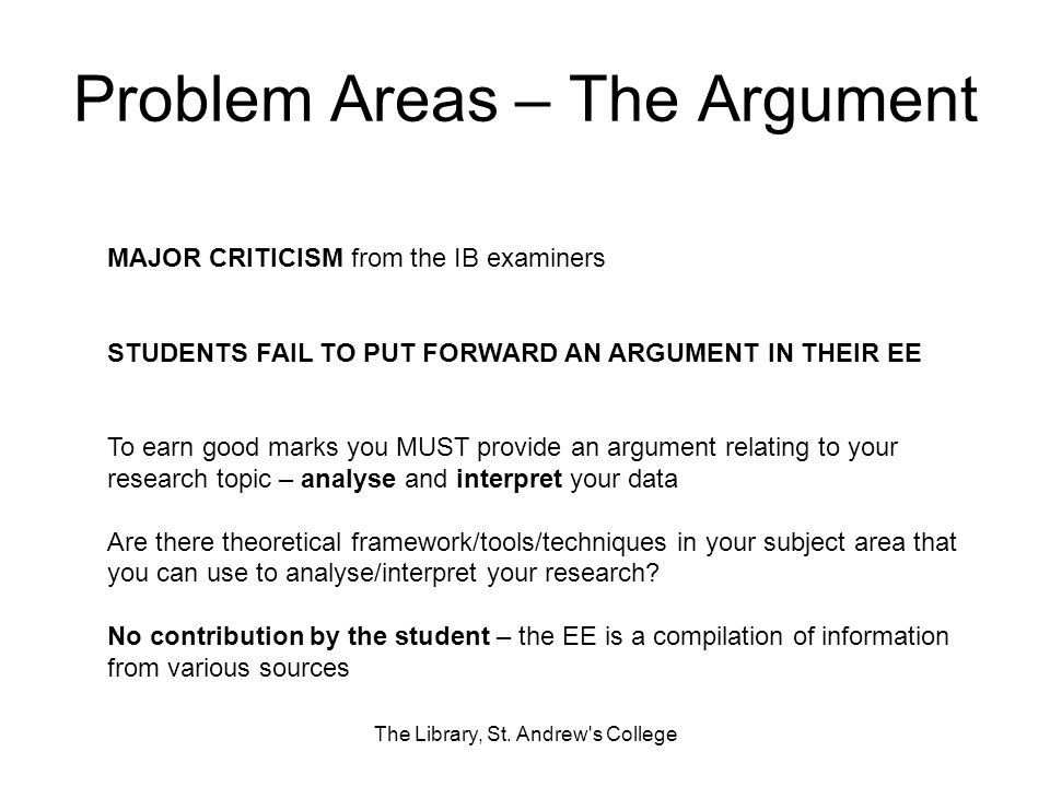 Problem Areas – The Argument
