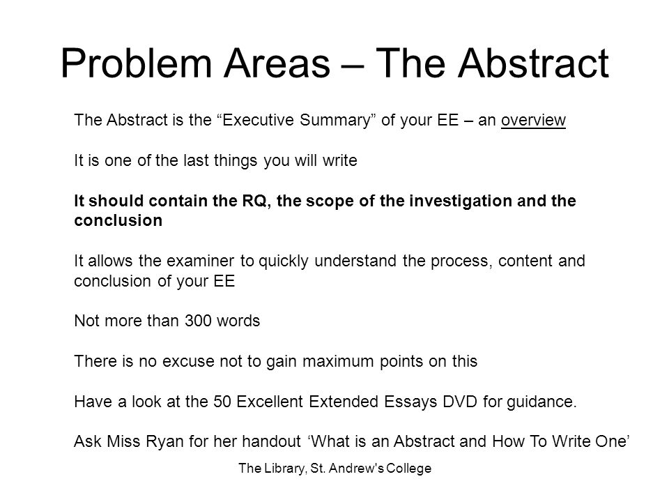 Problem Areas – The Abstract