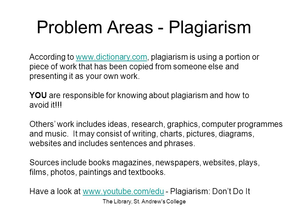 Problem Areas - Plagiarism