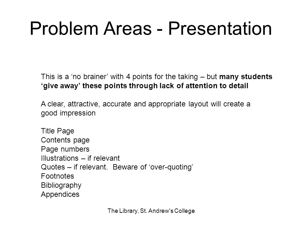 Problem Areas - Presentation