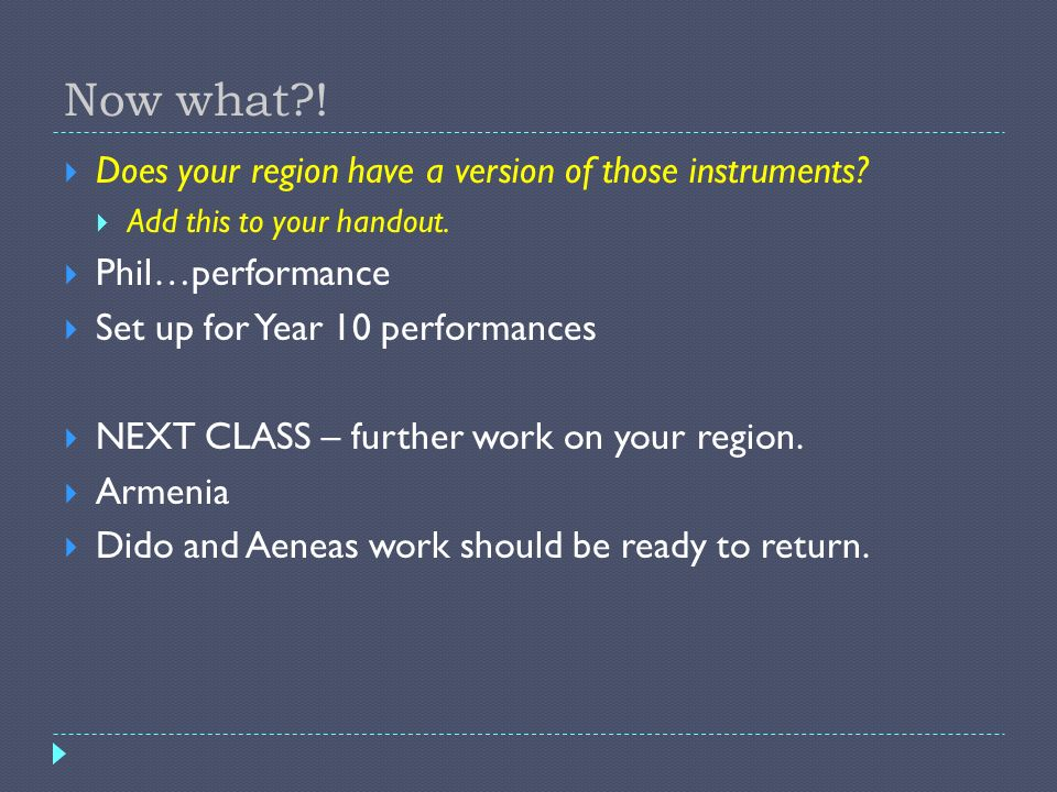 Now what ! Does your region have a version of those instruments