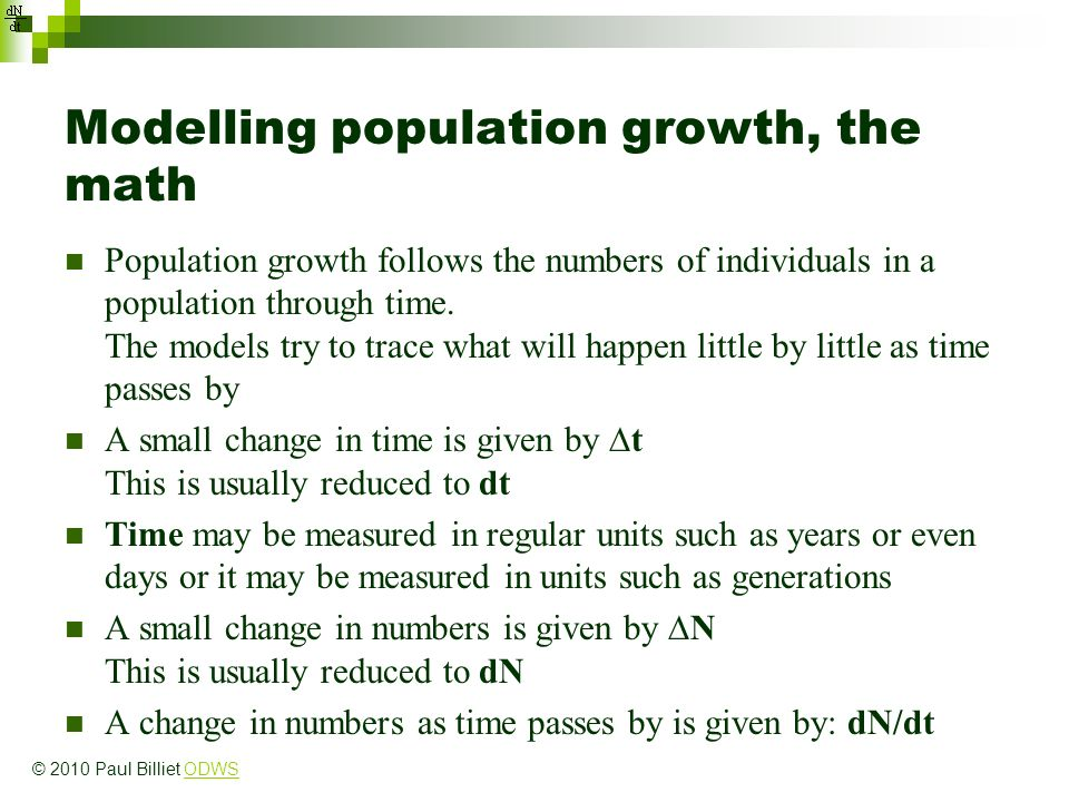 Modelling population growth, the math