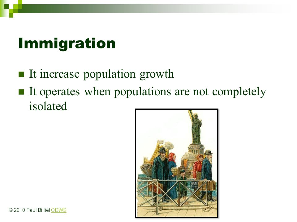 Immigration It increase population growth