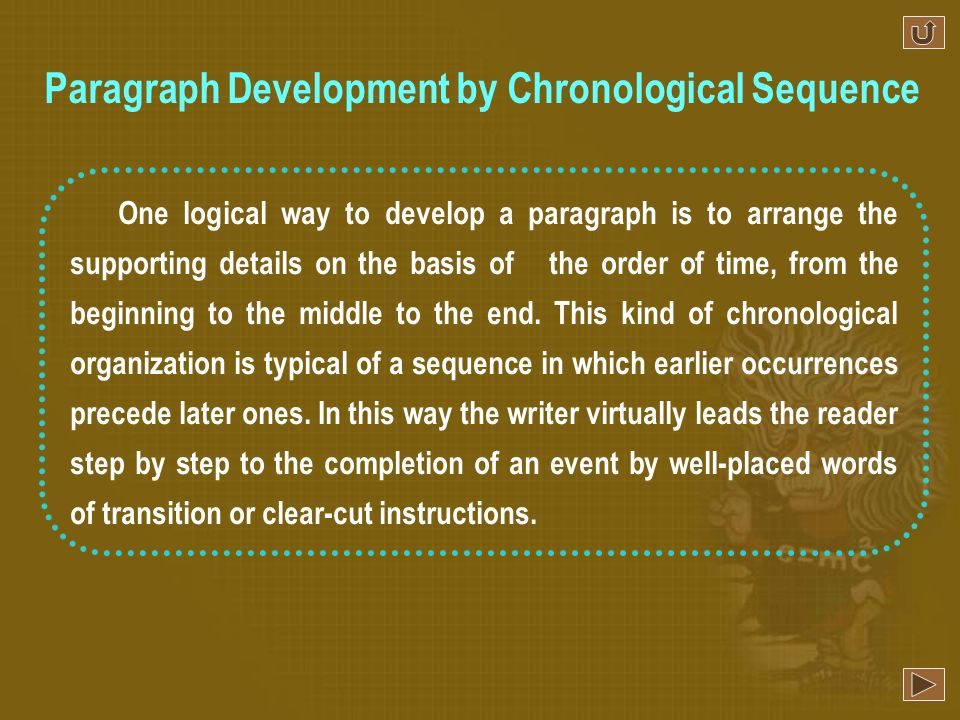 Paragraph Development by Chronological Sequence