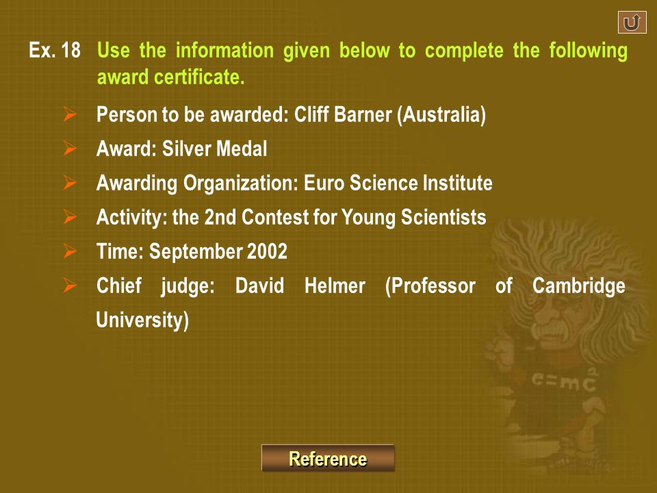 Person to be awarded: Cliff Barner (Australia) Award: Silver Medal