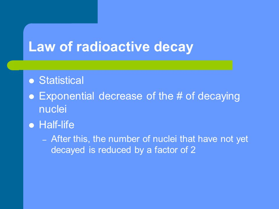 Law of radioactive decay