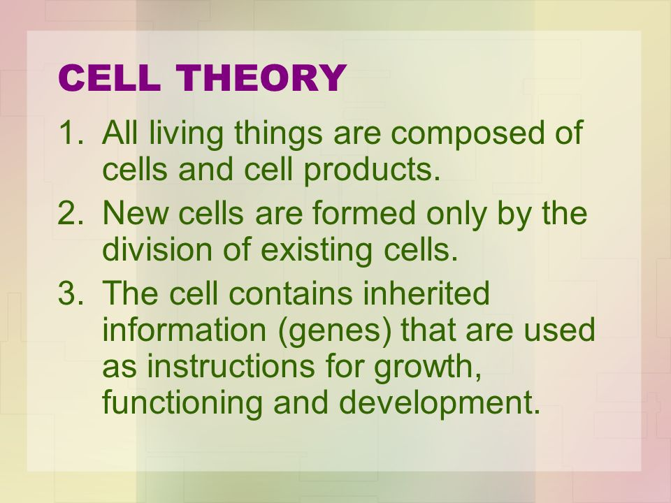 CELL THEORY All living things are composed of cells and cell products.