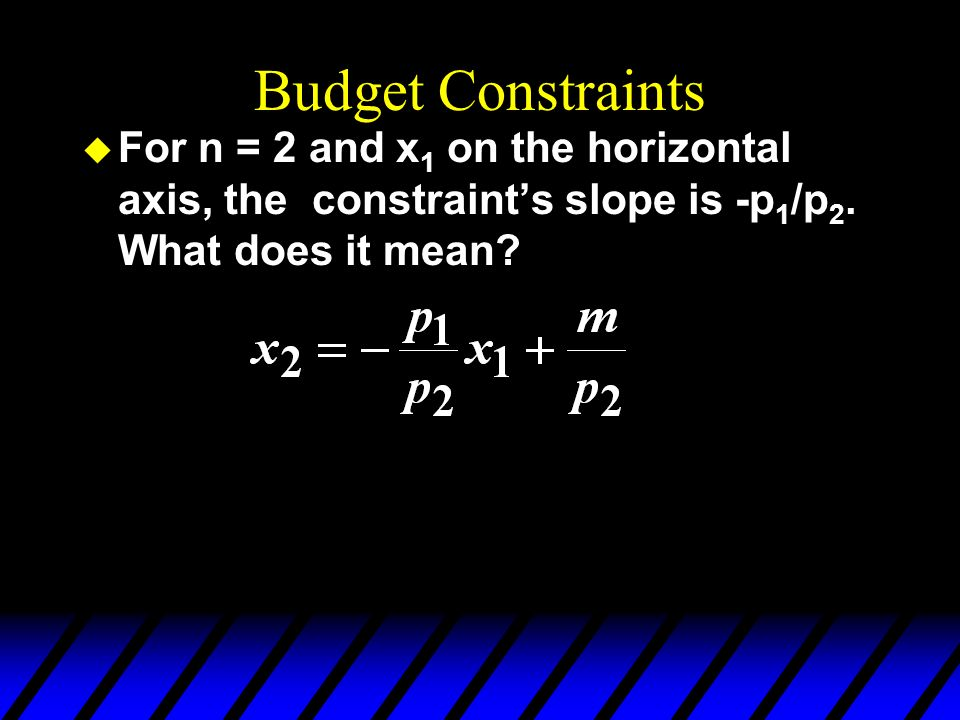 Budget Constraints For n = 2 and x1 on the horizontal axis, the constraint's slope is -p1/p2.
