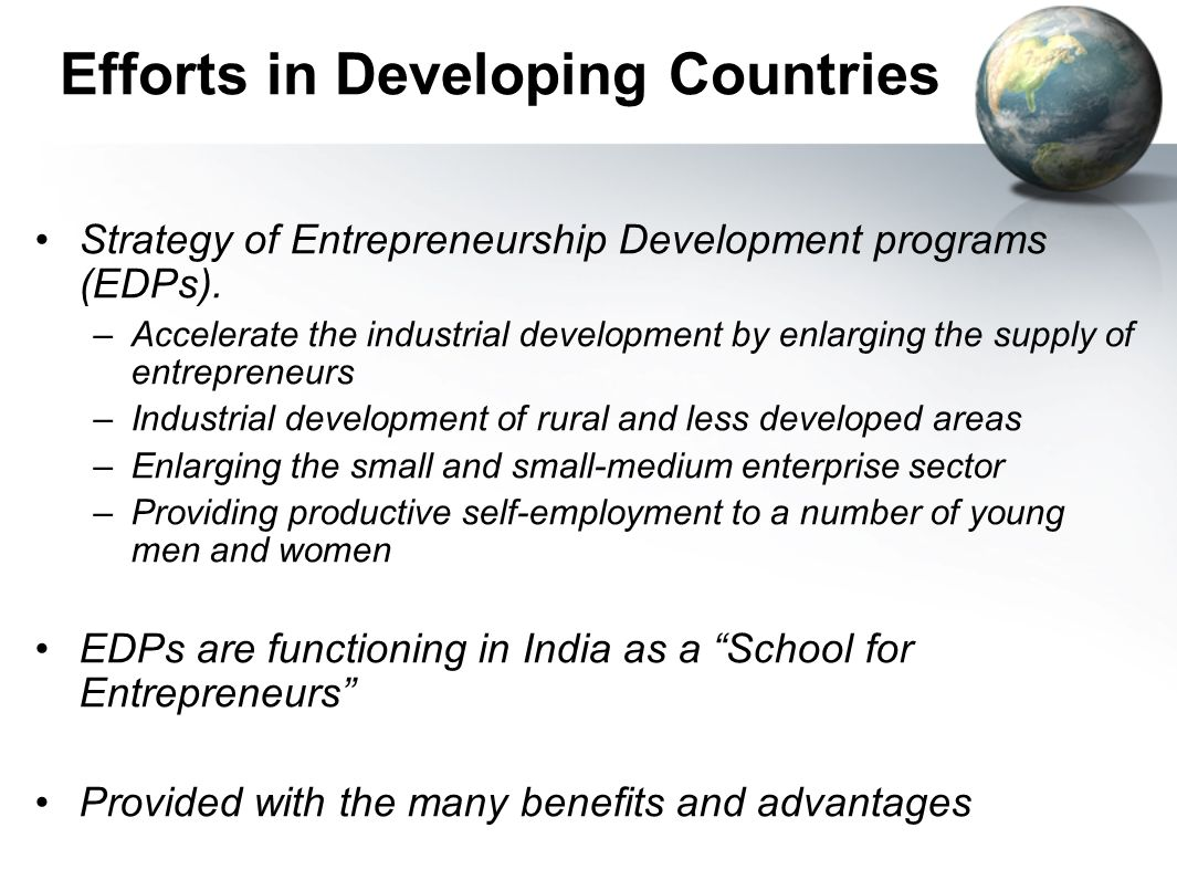 Efforts in Developing Countries