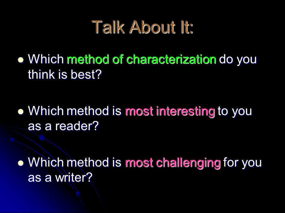 Talk About It: Which method of characterization do you think is best