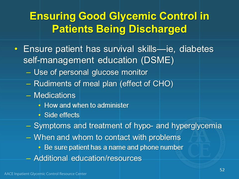 Ensuring Good Glycemic Control in Patients Being Discharged