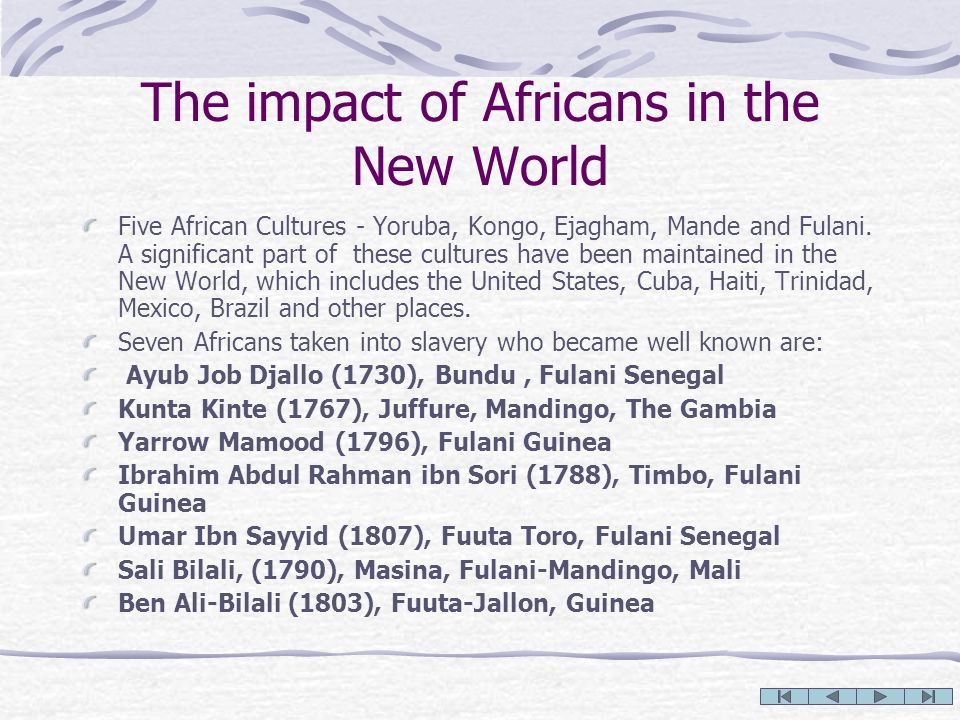 The impact of Africans in the New World