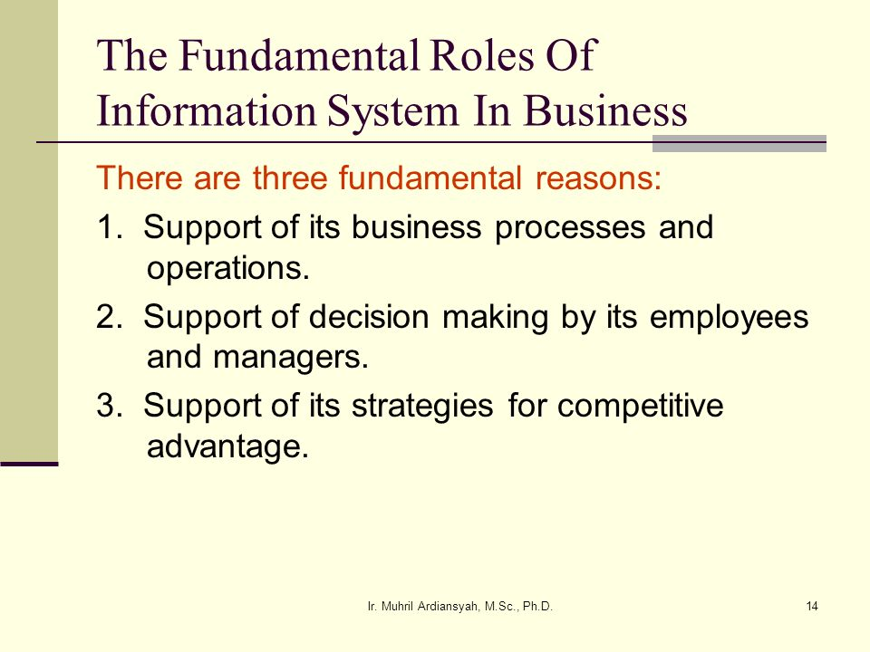 The Fundamental Roles Of Information System In Business