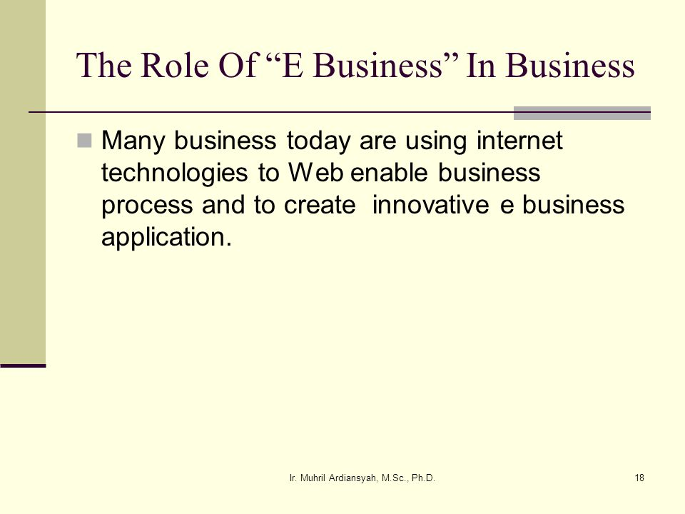The Role Of E Business In Business
