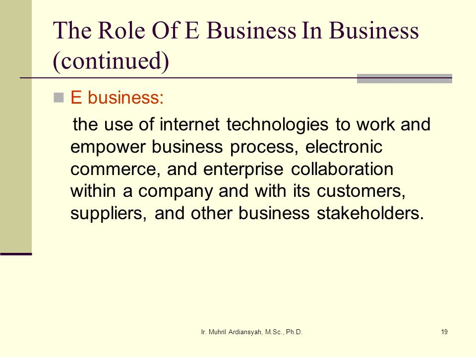 The Role Of E Business In Business (continued)