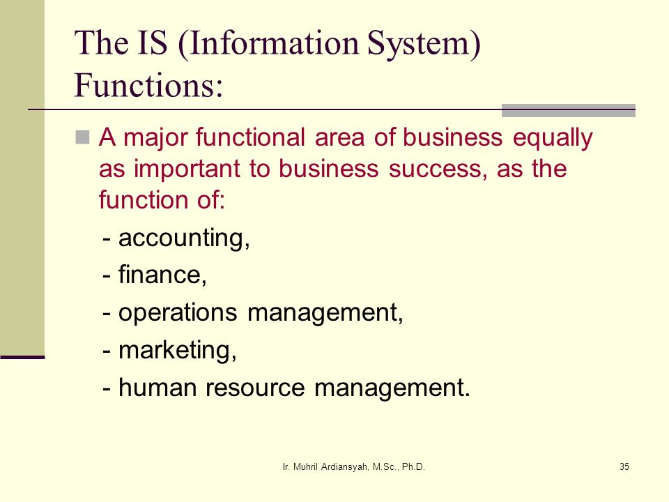 The IS (Information System) Functions: